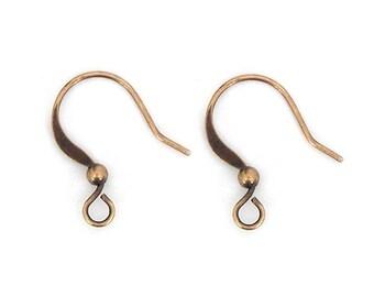50 Pcs Earwire, Antique Copper, 16mm Flat Fish Hook - eBH005-AC