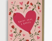 You're Okay, I Guess / Funny Love Card, Anniversary Card, 190-C