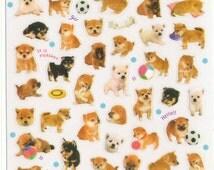 Kawaii Japan Sticker Sheet Assort: Cute Shiba Puppies Photo Stickers