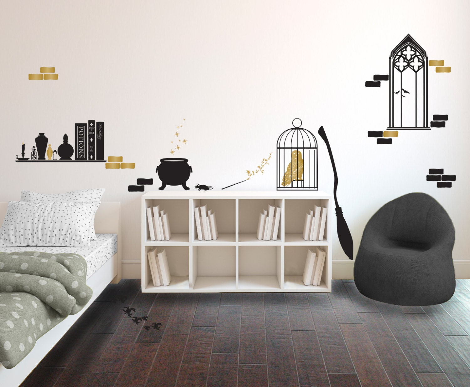 Harry Potter Inspired Wizards Room Collection Wall - Personalized vinyl wall decals