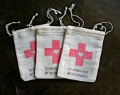 Wedding favor bags, muslin, 2x4. Set of 10. DIY Hangover Kit, In Sickness and in Health, first aid for wedding guests.  Funny wedding favor.