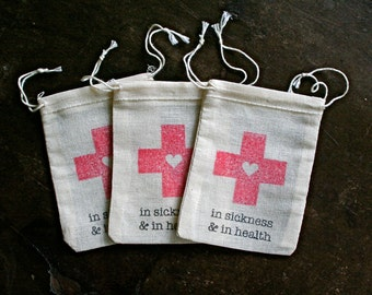 Wedding favor bags, DIY Hangover Kit bags. In sickness and in health. Bachelor or Bachelorette party favor, hotel welcome bag.