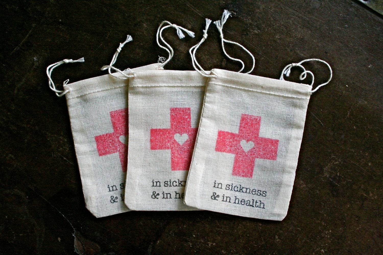 Wedding favor bags muslin 2x4. Set of 10. DIY Hangover Kit
