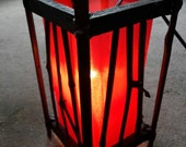 Bamboo oriental lamp with Red silk cover with on and off switch bedside lantern