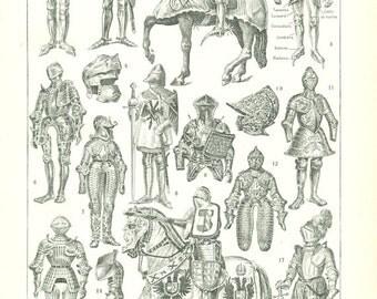 1922 vintage suit of armor print medieval armor poster Knight armor suit of armour medieval clothing medieval costumes Medieval gift
