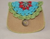 Coin Purse Hand Stitched crochet loop button and loop retro style by Lynwoodcrafts