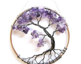 Amethyst Wire Tree of Life Wall Hanging, Purple Bonsai Sun Catcher - Small