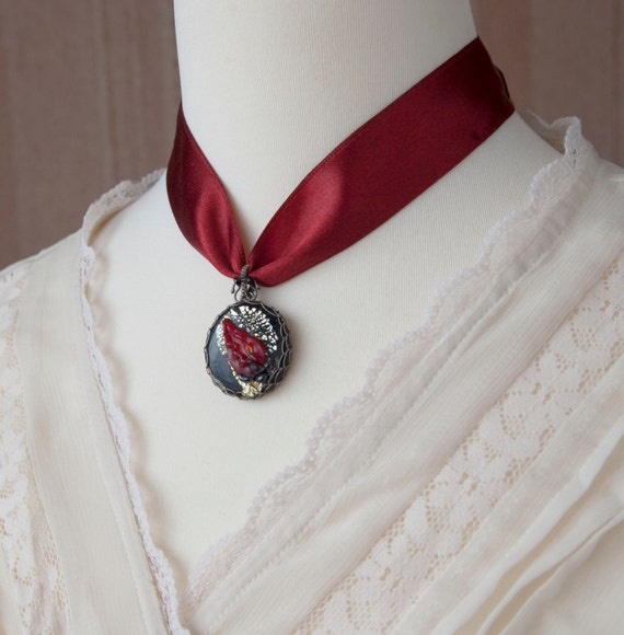 Christmas Gift  Red Rose Bud Choker Sterling Silver Wire Wrapped Necklace with Round Lampwork Pendant and Satin Ribbon.