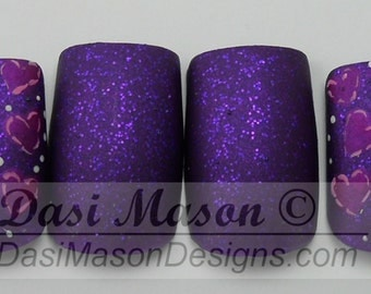 Pink and Purple Patchwork Hearts Instant Acrylic Nail Set