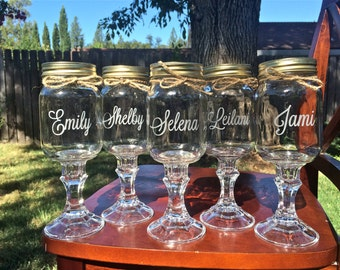 Redneck Wine Glass, Set of 10, Mason jar wedding, wine glasses