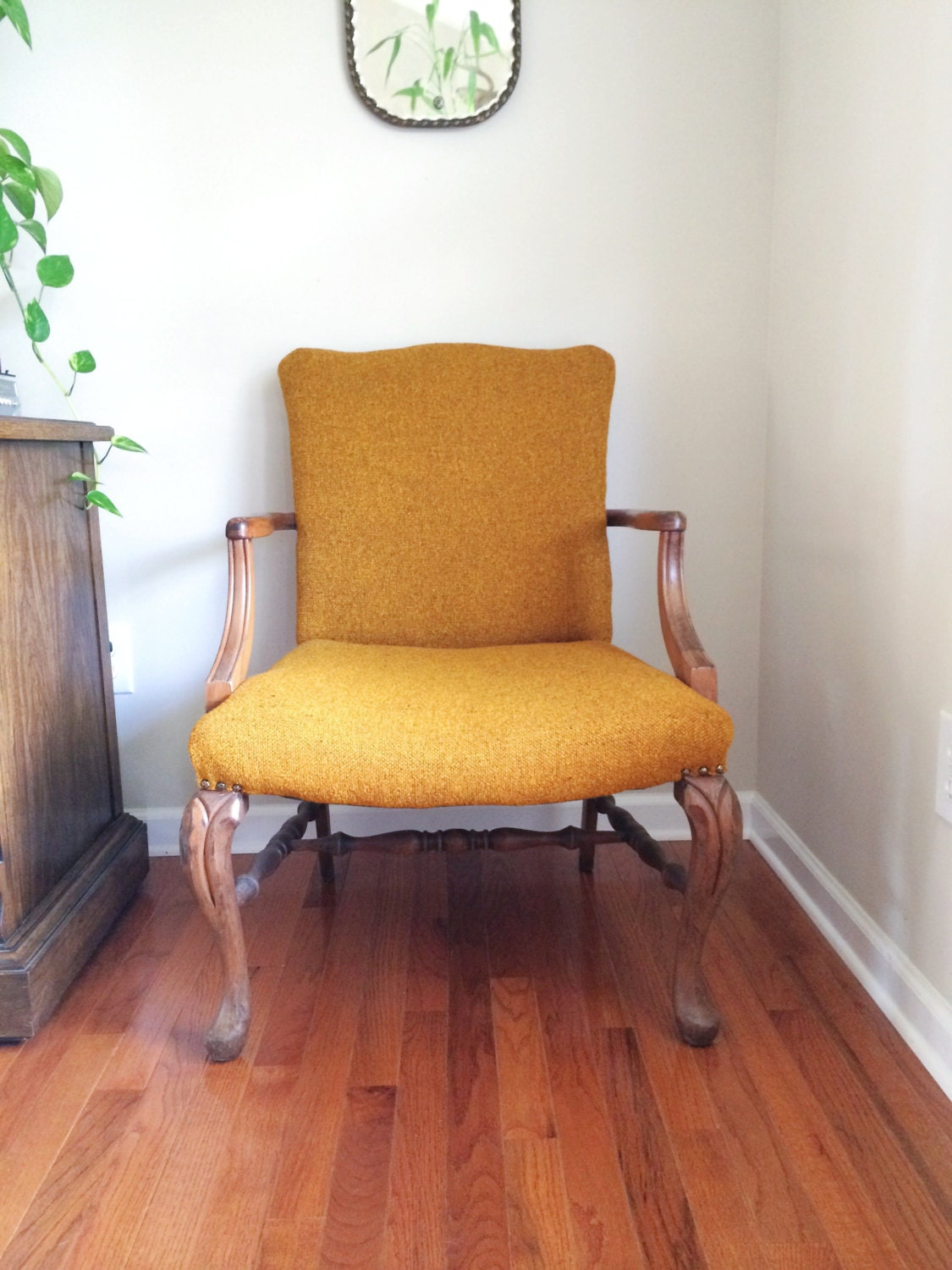 Amazing photo of Vintage Carved Wood Detail Queen Anne Tweed Arm Chair – Haute Juice with #B47C17 color and 1125x1500 pixels