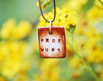 Free Hugs Talisman Necklace - Hand Engraved Artisan Handcrafted Rustic Jewelry - UK Seller -