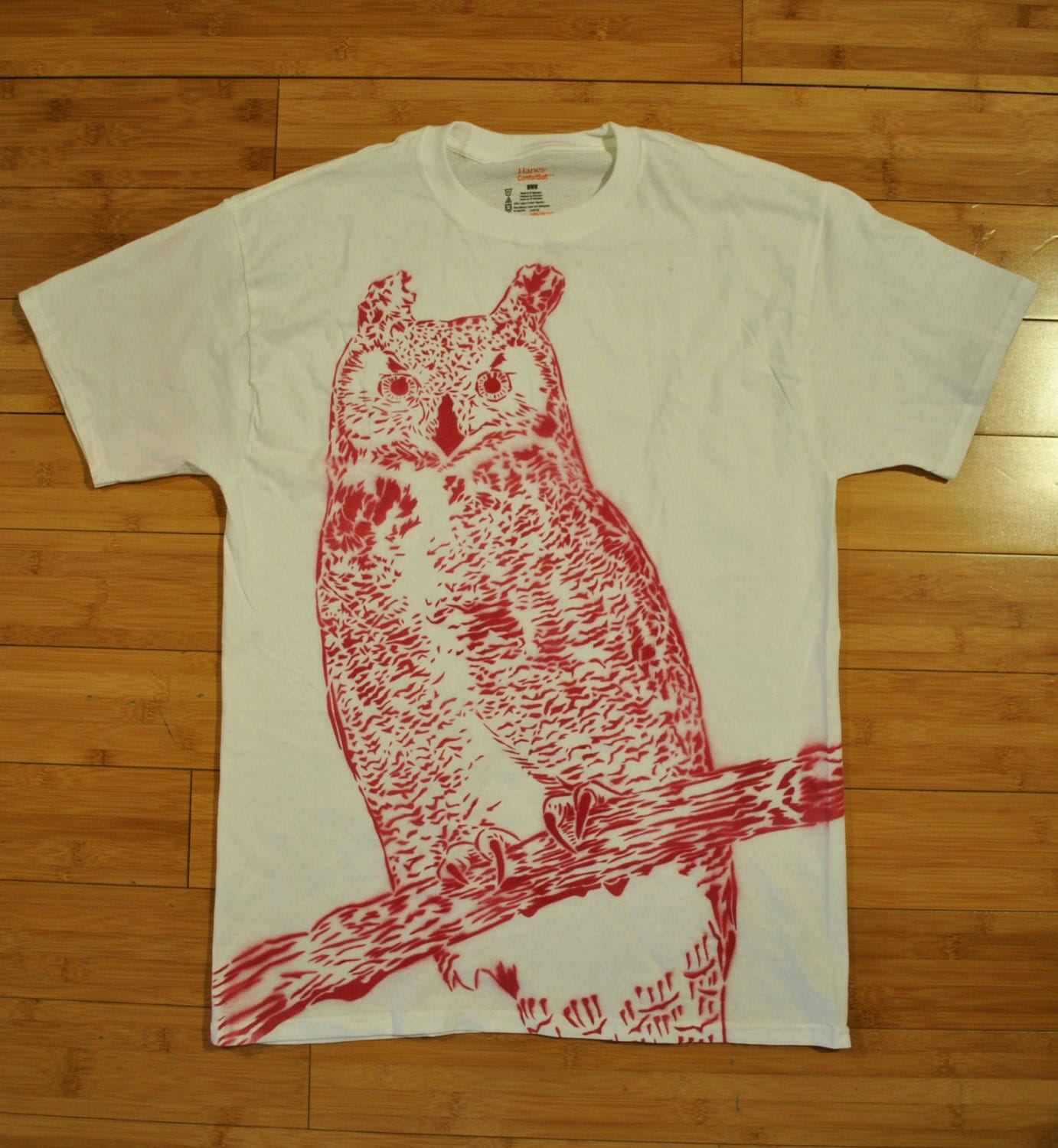 great horned owl spray paint stencil t shirt. Black Bedroom Furniture Sets. Home Design Ideas