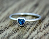 London Blue Topaz Silver Heart Ring, Alternative Engagement Ring, Ethical, Eco, Recycled Silver, Ready to Ship UK Size L 1/2