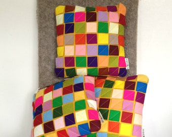 Modern Mini Cushion Wool Felt Squares bold bright colourful summer tropical