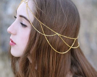 Libby Gold Head Chain, hair jewelry chain, chain headband, chain head piece, chain hair piece, hair jewelry