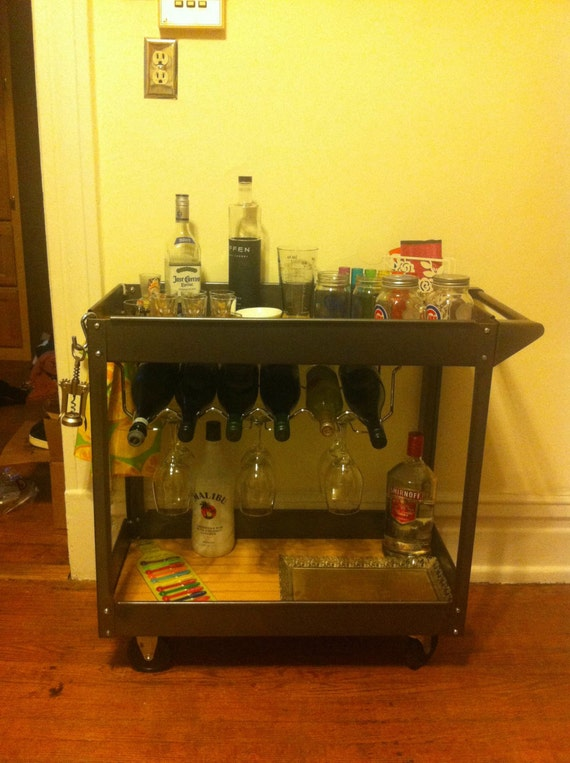 Items Similar To Bronze Bar Cart On Wheels With Wine Rack