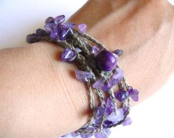 Amethyst bracelet necklace, crochet Linen bracelet, Amethyst chips gemstone, Bohemian, birthday, March birthstone, Boho romantic bracelet