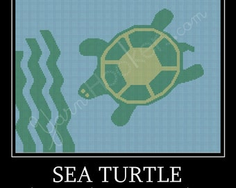 Sea Turtle - Afghan Crochet Graph Pattern Chart by Yarn Hookers