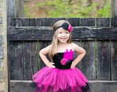 Hot Pink and Black Feather Flower Girl Layered Tutu Dress