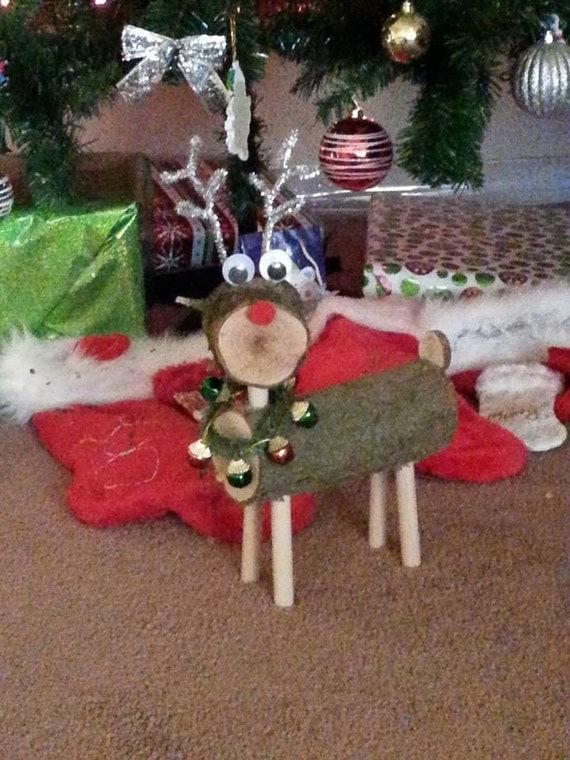 Items Similar To Log Reindeer Reindeer Deer Rustic