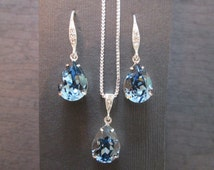 Denim Blue Swarovski Bridesmaid Jewelry Set/Swarovski Blue Crystal/Bridesmaid Set/Crystal Necklace/Swarovski Blue Crystal Earrings/ Wedding