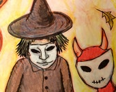 Halloween trick or treaters walking original drawing in India ink on orange archival paper.