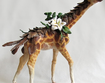 SALE 60% OFF - Fantasy Giraffe Sculpture with Flowers and Plants - Clay Animal Figurine Sculpted by Danielle Trudeau