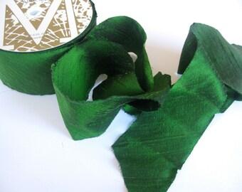 "Peridot green Dupioni Ribbon 2"" wide sold by the yard"
