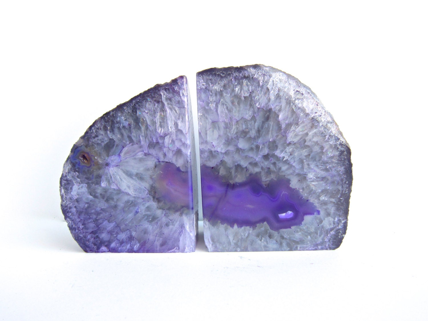 Agate geode bookends purple agate geode bookends - Geode bookends ...