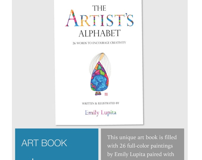 """Featured listing image: ART BOOK """"The Artist's Alphabet"""" / Creativity Motivational / Learn to Read Letters / Nursery Baby Shower Gift / Girl's Room Children"""