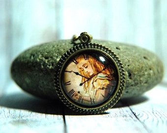 """1"""" Round Glass Pendant Necklace or Key Chain - Antique Clock Face with Alice in Wonderland"""
