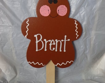 PERSONALIZED Gingerbread Christmas Wooden Yard Art Sign