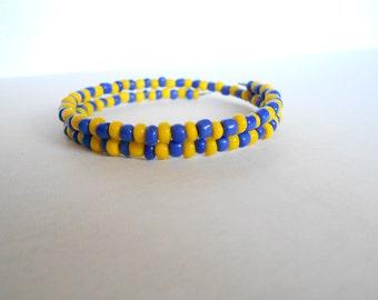Yellow and Blue Bracelets, small Bead Bracelet, Basketball, Football Team Spirit Jewelry