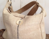 Antique linen grain sack tote bag / shoulder bag with burlap strap