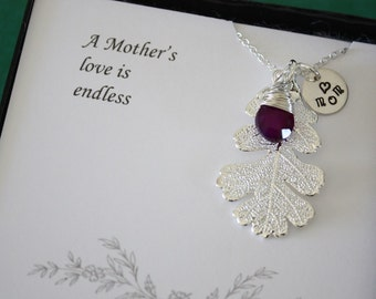 3 Mother Gifts Silver Leaf, Mom Gift, Real Leaf Necklace, Thank You Card, Silver Oak, Mom Charm, Wedding Gift, Monogram Necklace