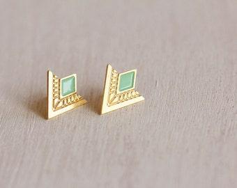 Egyptian Triangle Earrings, Gold Stud Earrings, Green Gold Earrings, Egyptian Stud Earrings, Gold Triangle Earrings, Stud Earrings For Women