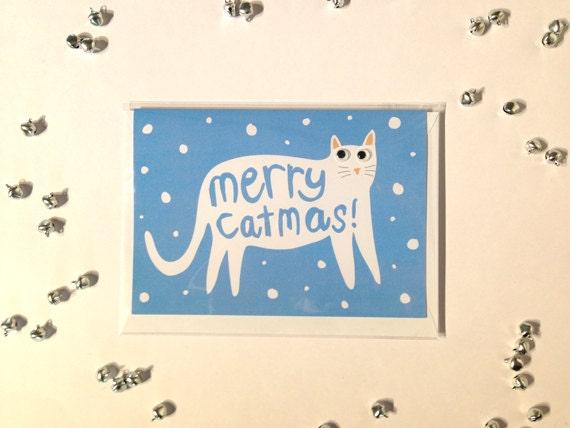 Cat Christmas Card - Merry Catmas - Christmas Card - Googly Eyes - Cat Xmas Card - Xmas Card  - Cats - I like Cats - Cat Cards - Merry Xmas