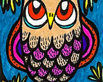 Owl Print, Whimsical Animal Art, Owl Art Print, Blue And Tan, Funny Owl Art, Kids Wall Art, Art For Kids, Pine Owl by Paula DiLeo_121110