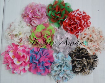 Grab bag of 6 Large Printed Lace Fabric flowers for DIY headbands and Crafting. Baby headband supplies, fabric flowers, flower wholesale