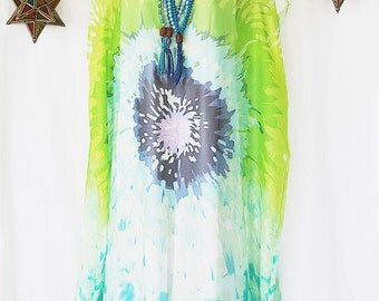 Made to Order Giant Blue and Green Painted Flower Pure Silk Chiffon Full Length Kaftan by LaMolli Kaftans