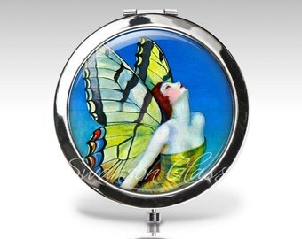 Compact Mirror - Fairy Accessory - BLUE - Magnifying Mirror - Birthday Gift - Personalized Gift - Purse Mirror - Party Favor  C32