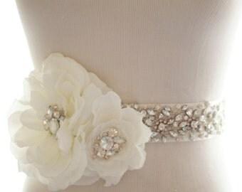 Rhinestone Crystal Silk Flower Bridal Belt, Wedding Sash, Crystal Bridal Sash