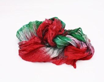 red silk scarf -  Wild Poppy - red, green, grey silk scarf.