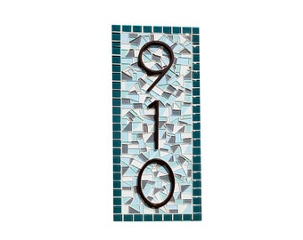 Teal and Aqua Mosaic Address Sign - Outdoor House Number Plaque