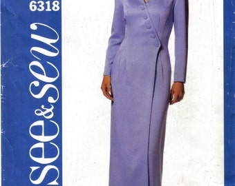 Asymmetrical, Mock Wrap Fitted Dress See and Sew 6318 Size 18 20 22 PLUS SIZE Bust 42 44 46