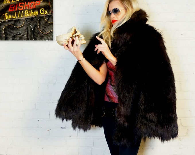 Antique Fur Cape 1870s Black Skunk Auto Robe Sleigh Fur Wrap Gothic Viking Beautiful Wretched Rock N Roll Fabulous by JH Bishop Co Detroit