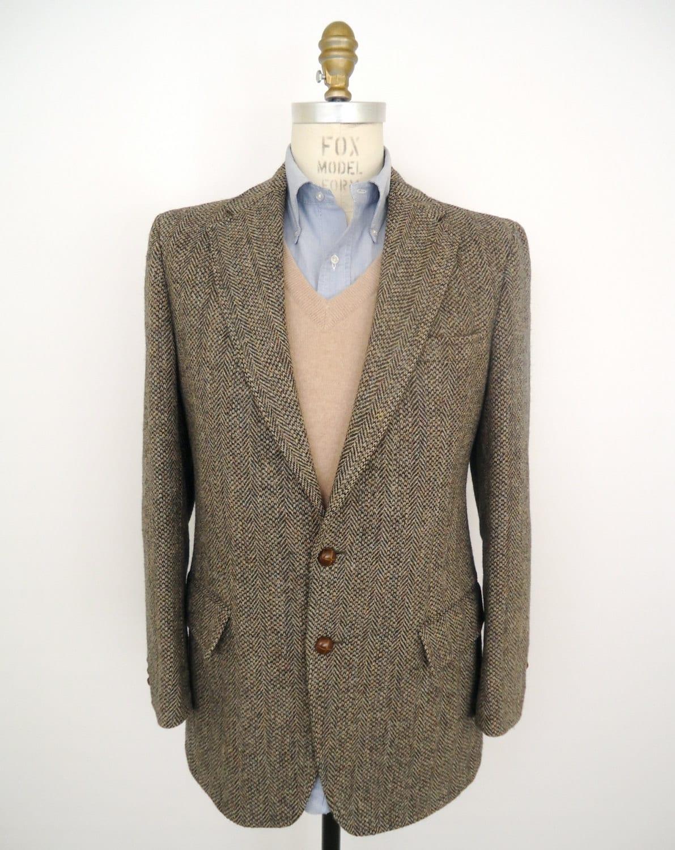 Harris tweed sport coat vintage black amp tan by companyman