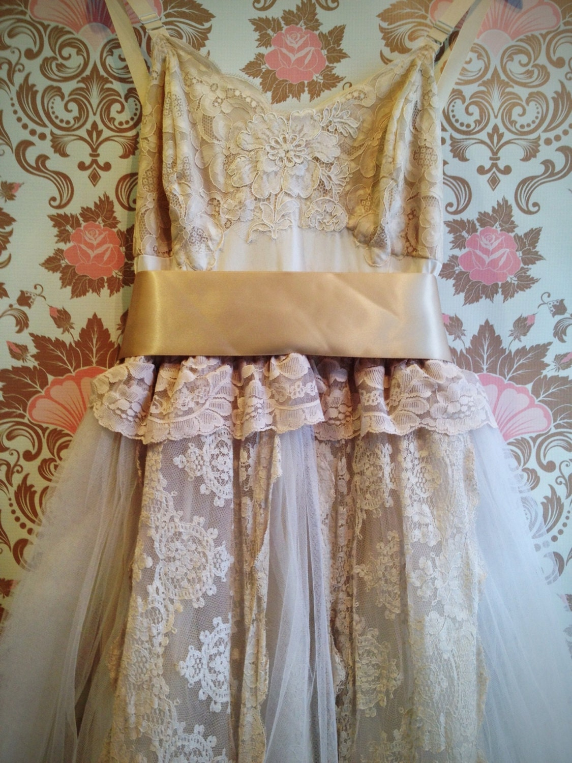 Ecru pale taupe tulle lace boho princess by for Taupe lace wedding dress