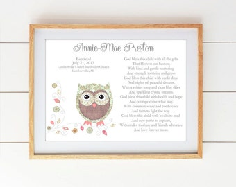Baby boy baptism gift christening gifts for boys baby girl baptism gift christening gifts for girl owl nursery decor personalized gift negle Image collections